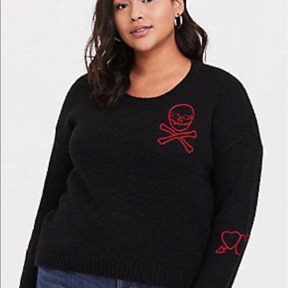 Torrid Black Knit SkullCrossbones Crop Sweater